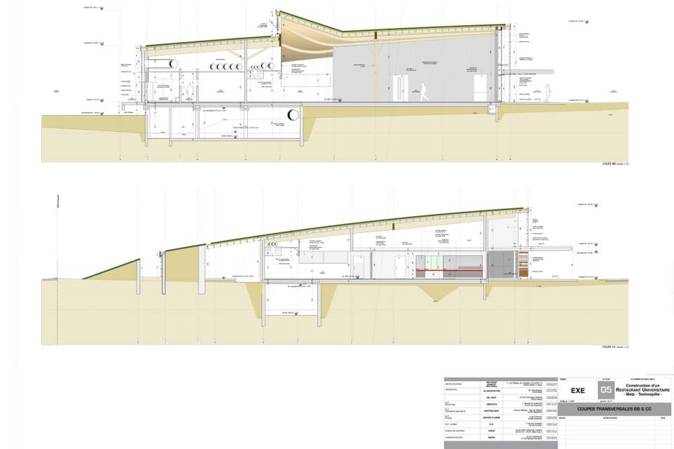 Plan coupe transeversale du Resto U de Metz