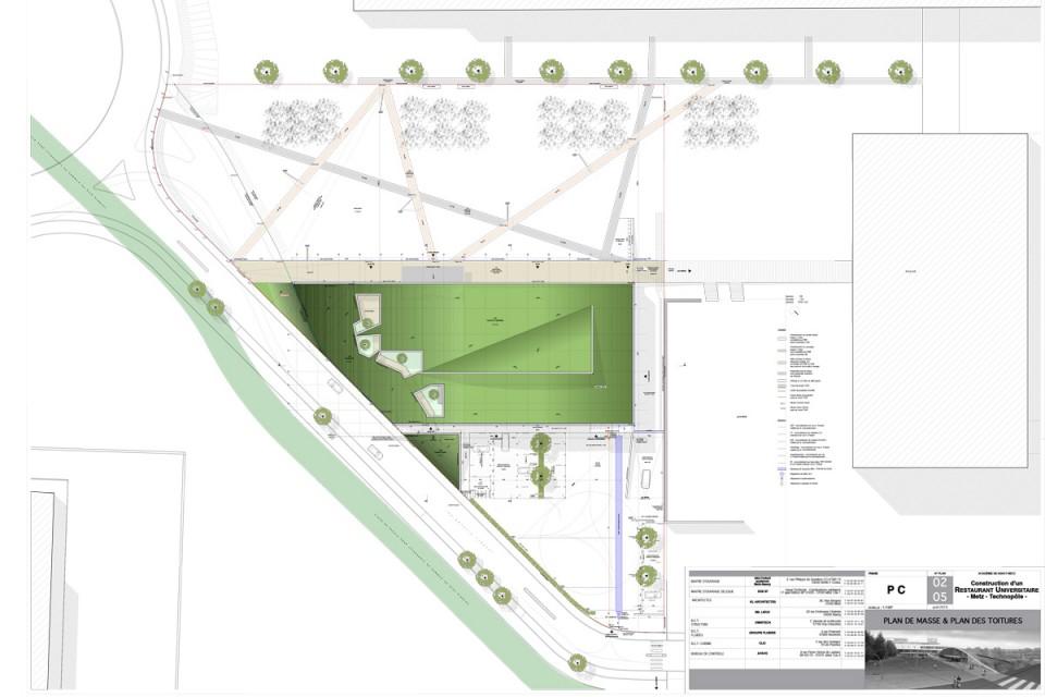 Plan masse du Resto U de Metz