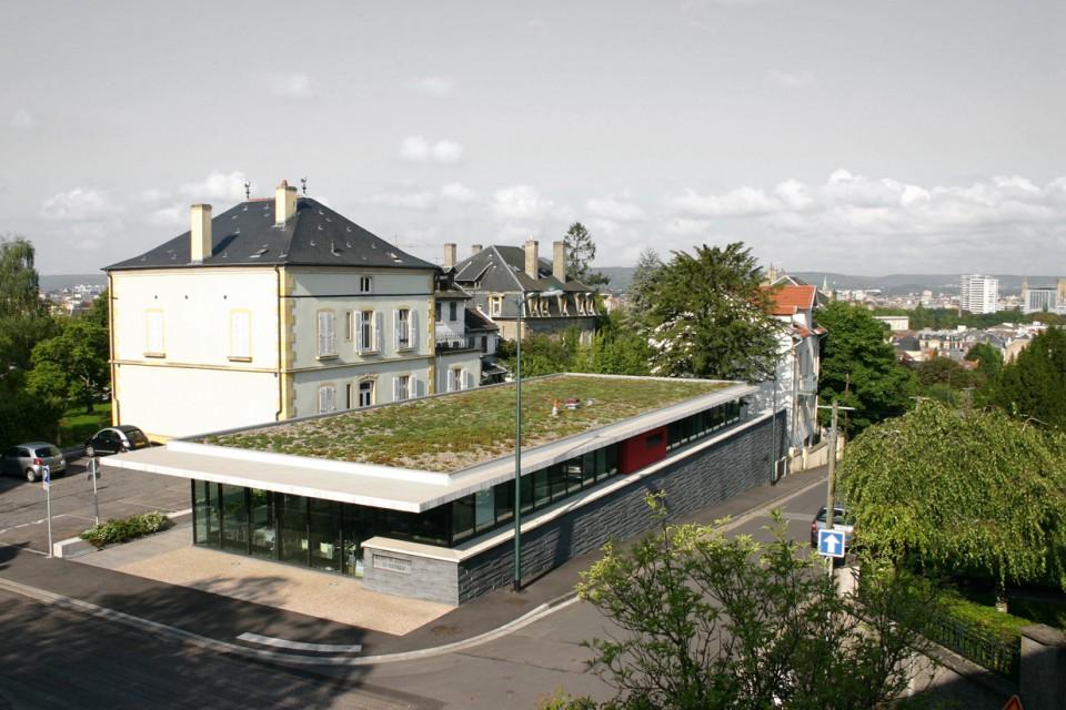 vue aérienne de la mairie de quartier de Metz-Queuleu