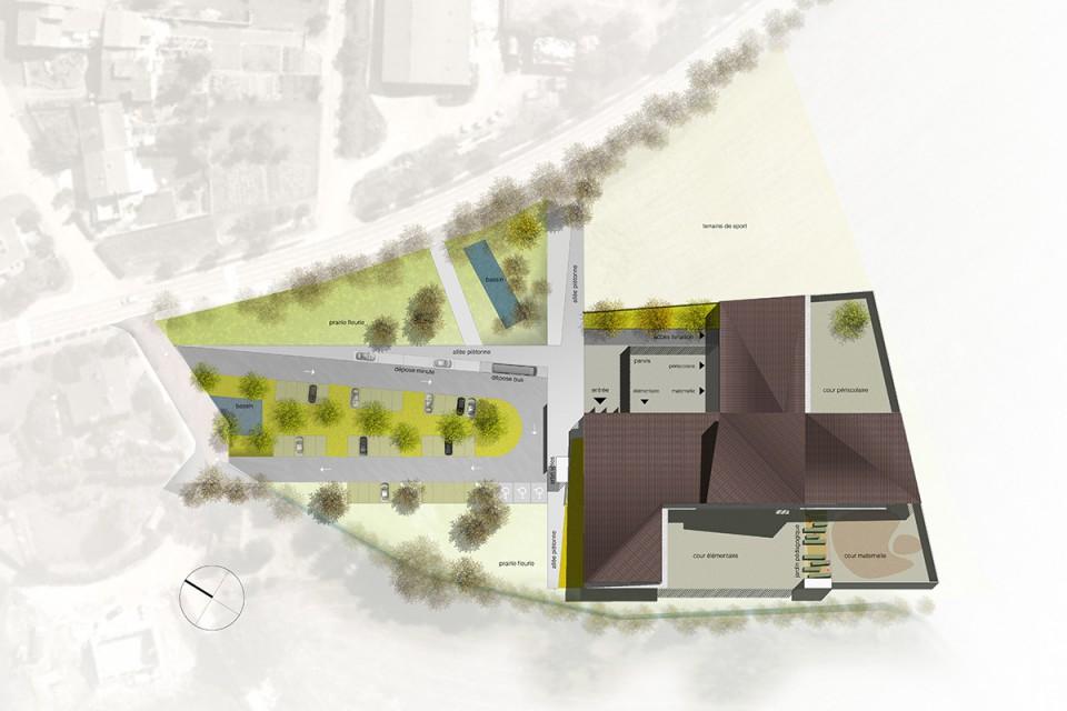 Plan masse du projet pour le groupe scolaire de Vany