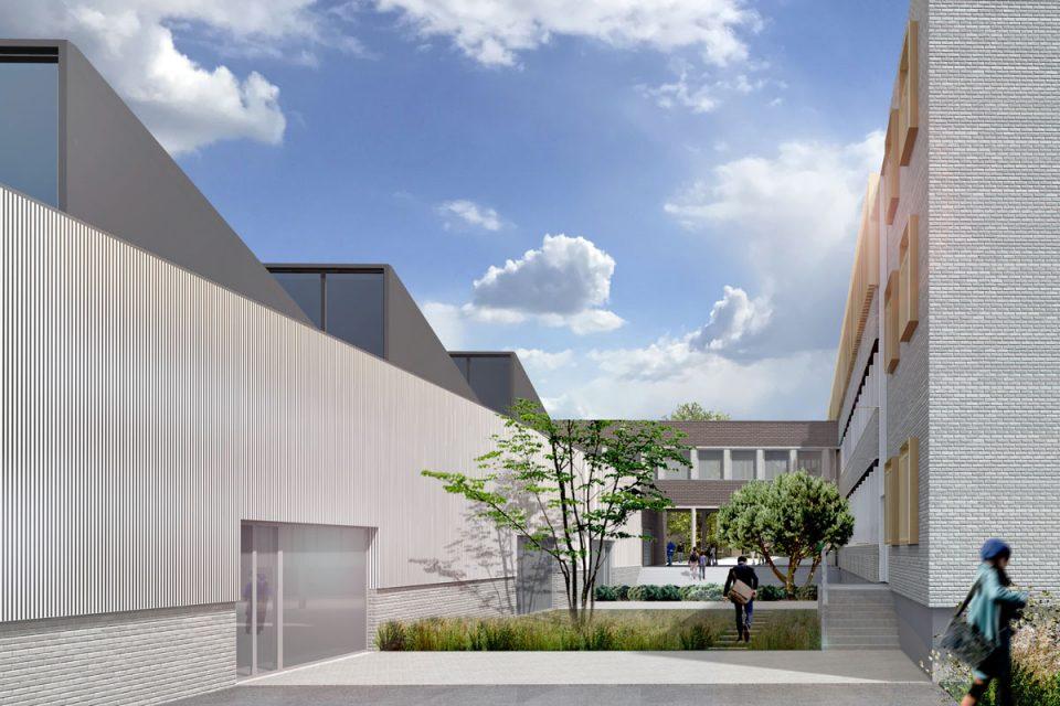 Vue cour intérieure du lycée de la Briquerie à Thionville