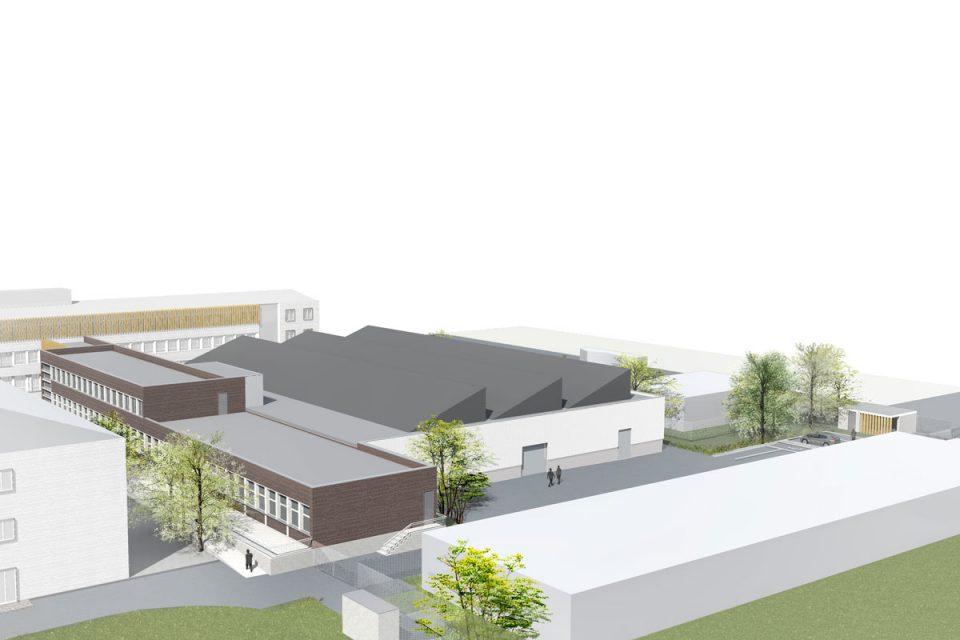 Vue axonométrique de l'extension du lycée de la Briquerie à Thionville en Moselle