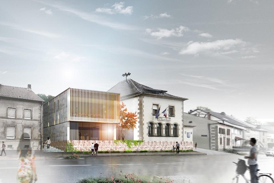 Vue de la rue de l'extension mairie de Cocheren