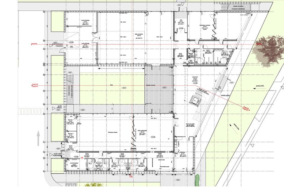 Plan du RDC du siège du SYDEME à Morsbach