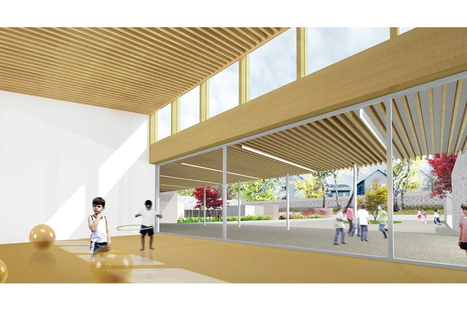 Salle d'activités du futur pôle scolaire de Vouziers dans les Ardennes