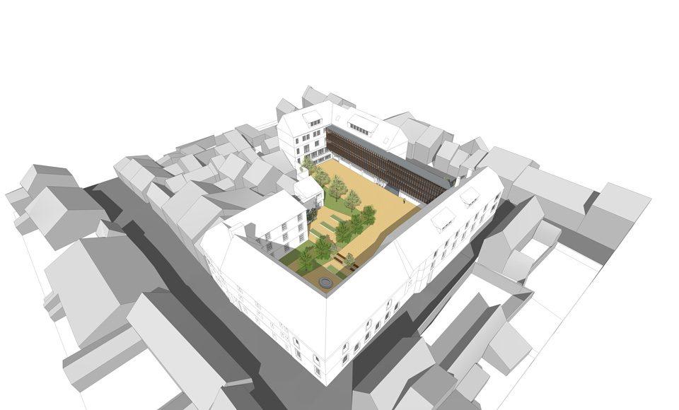 Vue axonométrique de la restructuration du site des Oratoriens du Lycée Friant à Poligny