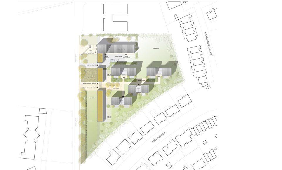 Plan de masse du projet pour la caserne de gendarmerie à Ennery