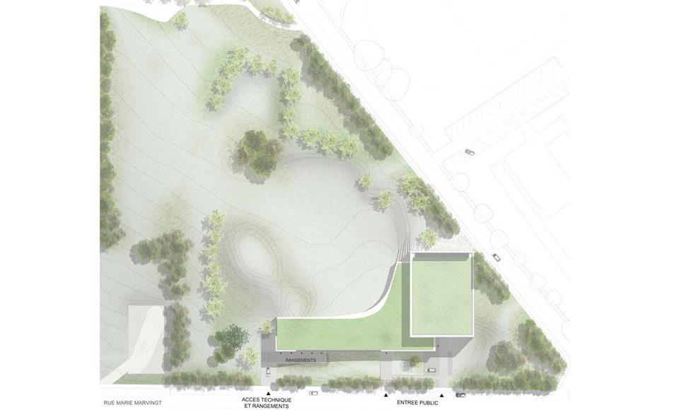 Projet de construction d'un bâtiment culturel et sportif : plan de masse
