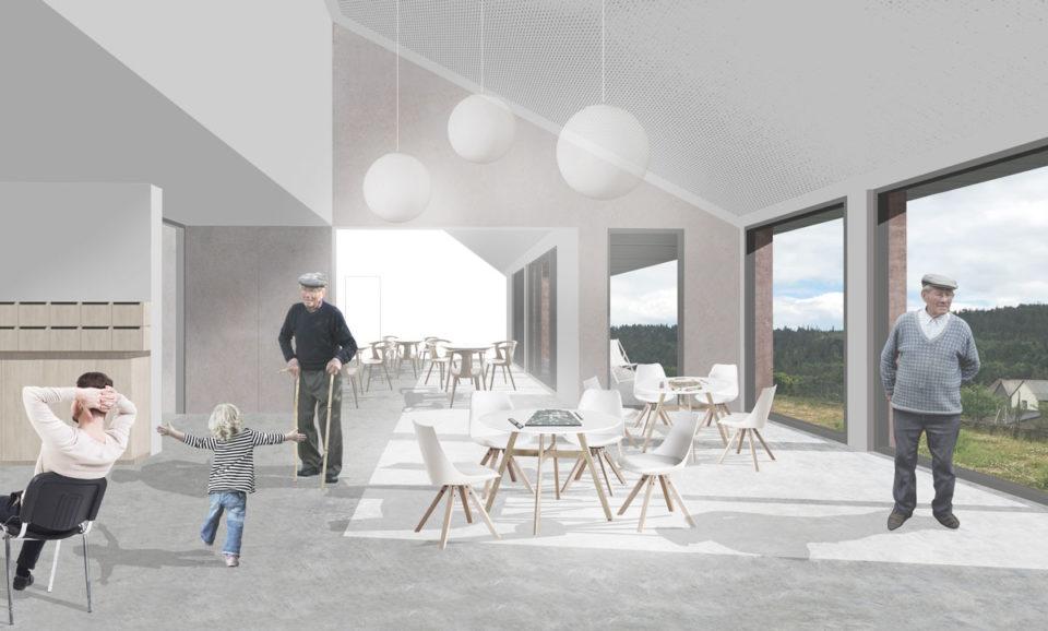 Vue intérieure du projet de construction d'une maison rurale à Dabo