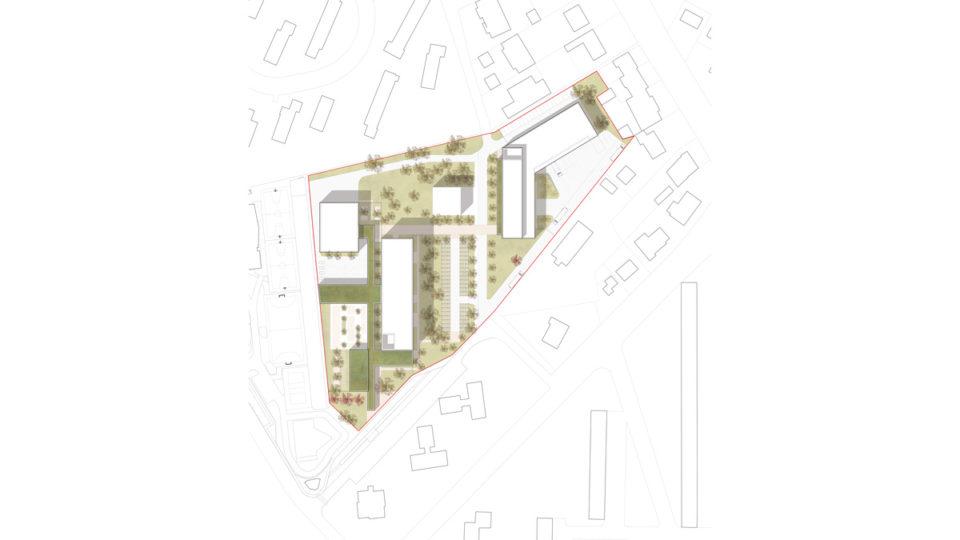 Collège en Lorraine : plan de masse