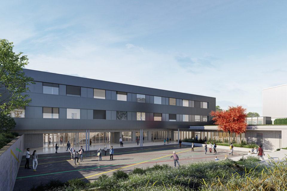 Cour du collège de Fontoy en Moselle