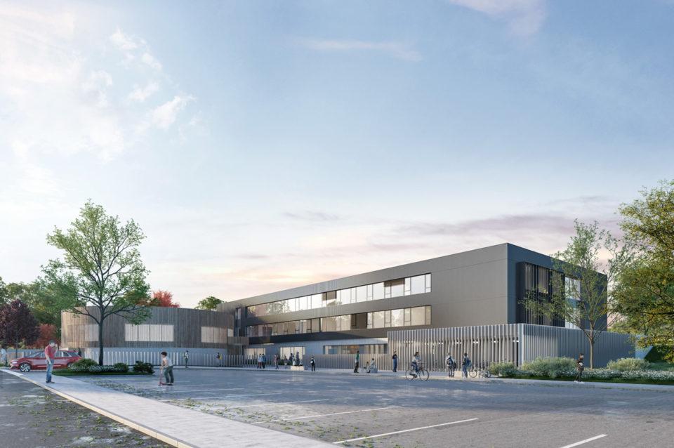 Vue de l'entrée du collège de Fontoy