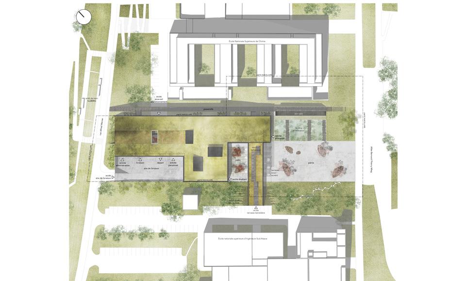 Plan de masse du projet de construction du Restaurant Universitaire Illberg à Mulhouse