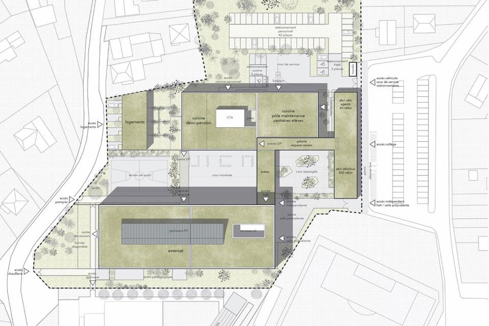 Plan de masse du collège d'Eckbolsheim, Bas-Rhin