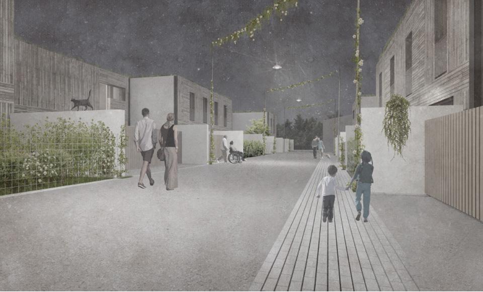 Espaces extérieurs du projet de construction de 32 logements sociaux à Nancy